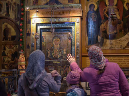 Russia, Velikiy Novgorod 01.05.2015 Parishioners and Russia interior of Saint Sophia Cathedral Editorial