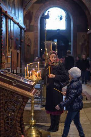 Russia, Velikiy Novgorod 01.05.2015 Parishioners and Russia interior of Saint Sophia Cathedral Redakční