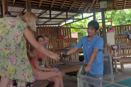 Thailand, Pattaya 08,08,2018 entertaining show with snakes on the snake farm