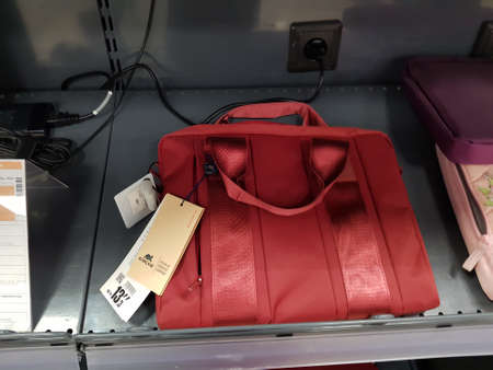 Russia, St. Petersburg 17,03,2019 Laptop bags on sale in the store Editorial