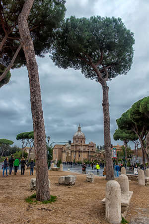 ROME - 02,01,2018: View of the Roman Forum   in Rome, Italy.