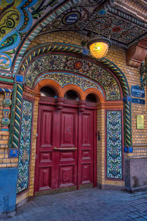 RUSSIA, ST PETERSBURG  30,03,2019 : Fragment of the architectural facade of the building on Kolokolnaya street in St. Petersburg Redakční