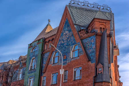 Russia, Moscow 05.04,2019  Fairy-tale House of Pertsova (DOM PERTSOVOY), Moscow art nouveau building, constructed  by the architects Schnaubert and Zhukov