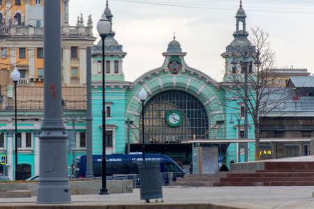 Russia, Moscow 05.04,2019 Belorussky railway station and the square in front of it Editorial