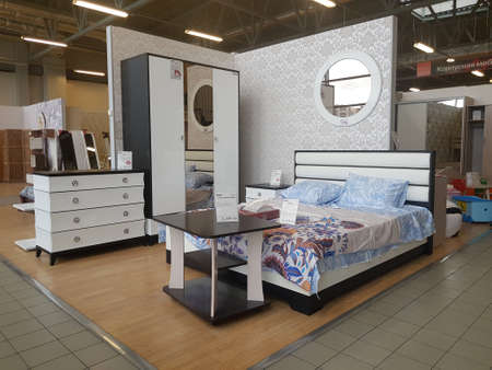 Russia, St. Petersburg 21,04,2019 Bed and bedroom interior in a furniture store