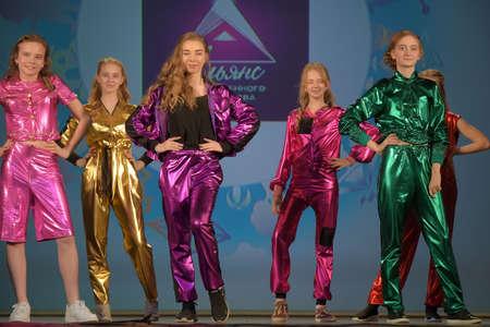 Russia, St. Petersburg 01,06,2019 Children in bright shiny costumes, fashion show. Charitable XVII Festival of Children's Creativity