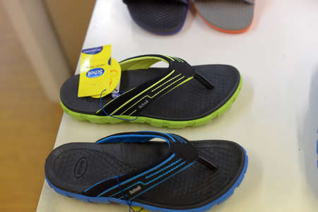 Thailand, Pattaya 24,08,2018 Scholl slippers on sale in a shoe store