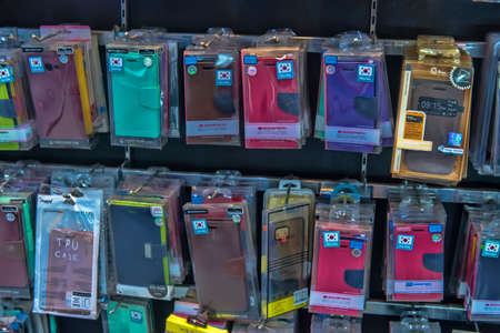 Thailand, Pattaya 24,08,2018 Cases for phones on sale in the store