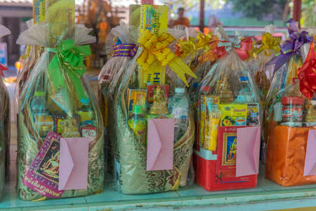 Thailand, Pattaya 24,08,2018 Offerings to monks in a Thai temple