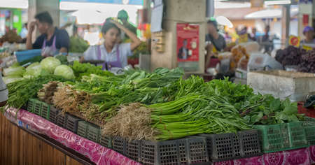 Thailand, Pattaya 24,08,2018 Greens and vegetables sold on the market