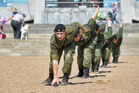 Russia, St. Petersburg, 28.07.2013 Demonstrative performance of the Marine Corps Redakční