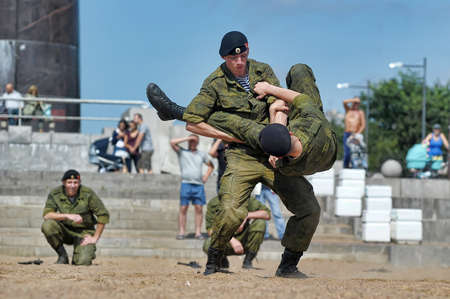 Russia, St. Petersburg, 28.07.2013 Demonstrative performance of the Marine Corps