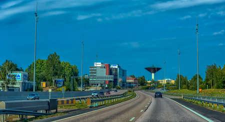 Finland, Kotka 17,08,2019 Unusual water tower in the city of Kotka Zdjęcie Seryjne - 138311025