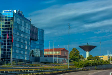 Finland, Kotka 17,08,2019 Unusual water tower in the city of Kotka