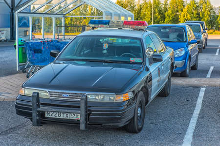 Finland, Kotka 17,08,2019 Police car standing in the parking lot