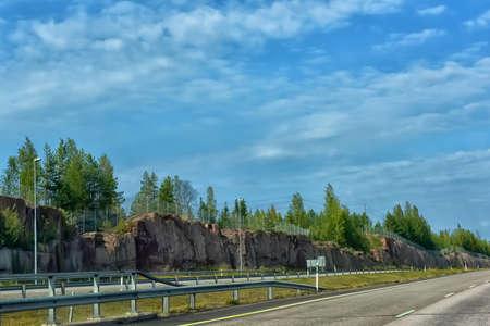 Finland, Kotka 17,08,2019 Road cut in stones, Karelia