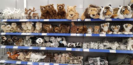 Finland, Lappeenranta 08,11,2018 Soft toys on a shelf in a supermarket