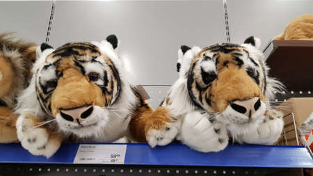 Finland, Lappeenranta 08,11,2018 Soft toys tigers on a shelf in a supermarket