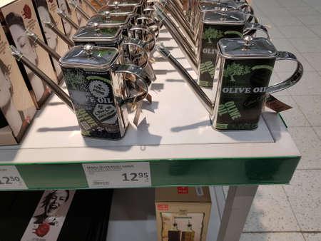 Finland, Lappeenranta 08,11,2018 Oiler for olive oil in a supermarket