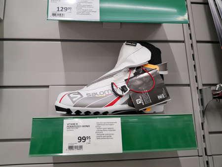 Finland, Lappeenranta 08,11,2018 Ski boots in a sports store Publikacyjne