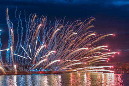 Russia, St. Petersburg 22.06.2018 Fireworks at night on the Neva at the Scarlet Sails