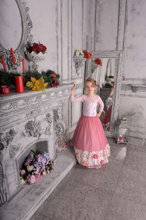 young girl in a pink dress by the fireplace princess