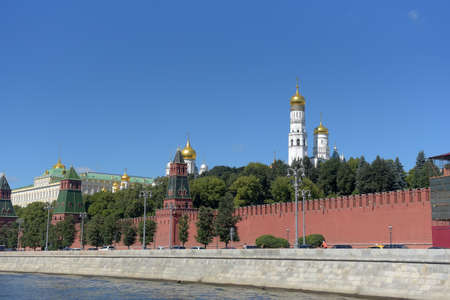 Russia, Moscow. 14.08,2018 Kremlin wall, view from the Moscow river