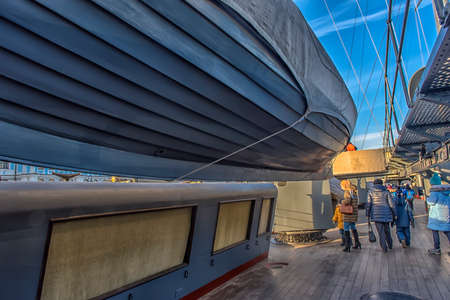 Russia, St. Petersburg 26,11,2019 Museum ship Aurora Cruiser. - details