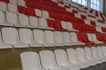 red and white seats in the stadium