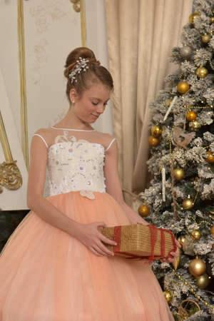 beautiful young girl with evening hairstyle in pink with white dress in christmas,, tree with gold ornaments Banque d'images