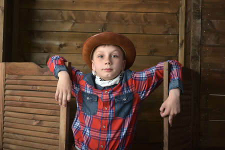 Boy in a plaid shirt and a cowboy hat