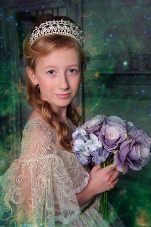 a girl in a smart white dress with a diadem in her hair and a bouquet of flowers in her hands, a young aristocrat