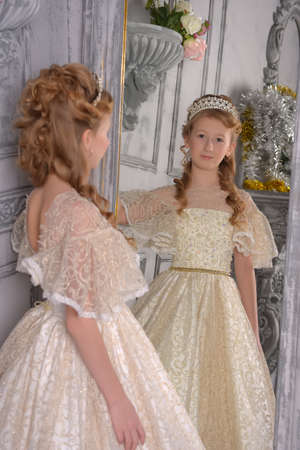 a girl in a white lace dress with a diadem in her hair, a young aristocrat, a ball gown, trying on a dress in front of a mirror, admiring herself in reflection