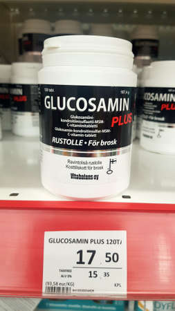 Lappeenranta, Finland 15,01,2020 Glucosamine for sale in a supermarket