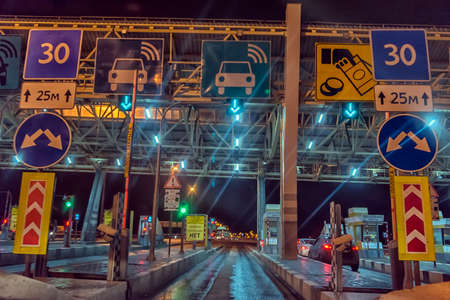 Russia, St. Petersburg 19,01,2020 A toll station located on the expressway