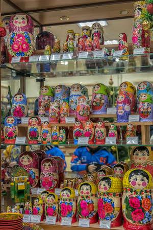 Russia, Semenov 19.01,2020 Matryoshka dolls in the Khokhloma store for sale