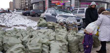 Russia, St. Petersburg 02.03.2019 Separate waste collection, activists and volunteers for shares for separate collection