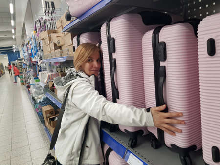 Lappeenranta, Finland 15,01,2020 Suitcases in a supermarket for sale Editorial