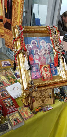 Russia, St. Petersburg 19,10,2019 Icons and prayers at the Orthodox exhibition of monasteries Editorial