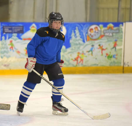Russia, St. Petersburg 28,05,2019 Children playing hockey at the open tournament for children's hockey