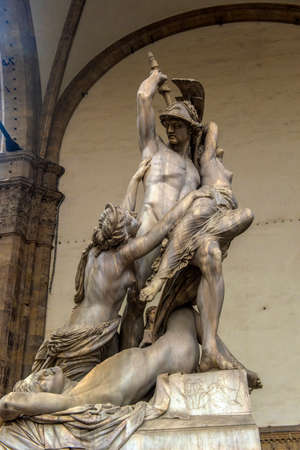 Italy, Florence 03.01,2018 statues in front of the old building facade in Florence Tuscany Editorial