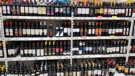 Russia, St. Petersburg 15.03.2020 Shelves with wines in a supermarket