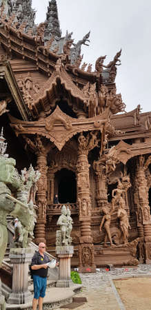 Thailand, Pattaya 27.08,2018 Sanctuary of Truth is a temple construction in Pattaya, Thailand. The sanctuary is an all-wood building filled with sculptures based on traditional Buddhist and Hindu motifs.