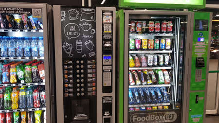 Russia, St. Petersburg 22.03.2020 Automatic machines with drinks in a supermarket