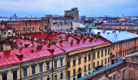 Russia, St. Petersburg 31.03.2020 View of the rooftops of St. Petersburg after rain