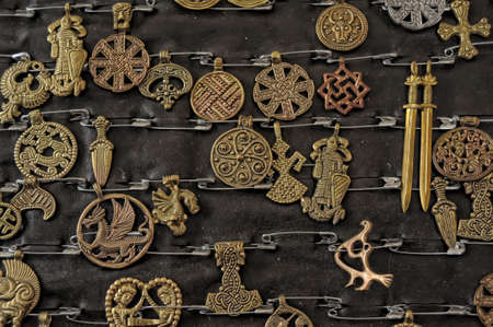 Medieval-style jewelry with Slavic and Scandinavian symbols on sale