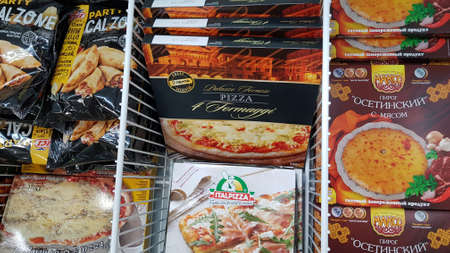 Russia, St. Petersburg 20.04.2020 Assorted of frozen foods display for sell in the supermarket.