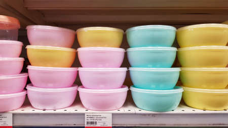 Russia, St. Petersburg 04.05.2020 Plastic food containers on a shelf in a supermarket