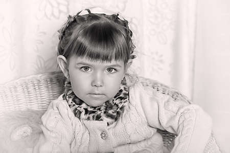 black and white portrait of cute girl