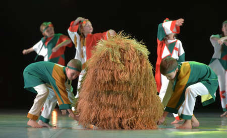 Russia, St. Petersburg 16.06.2019 Performance of a children's dance group in Russian costumes, modern dance at the open festival of creativity